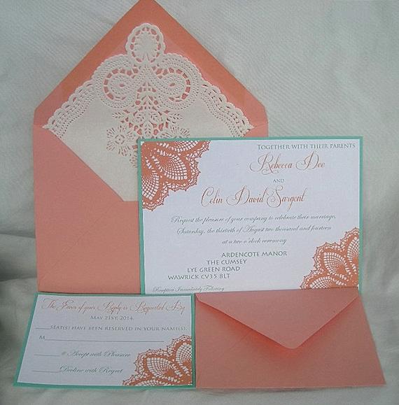 Coral Peach N Turquoise Blue Aqua Teal Blue Lace Wedding Etsy