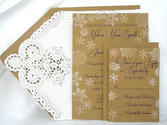 Shabby Chic Colors For 2015 : Wedding invitation kraft vintage rustic winter wonderland etsy