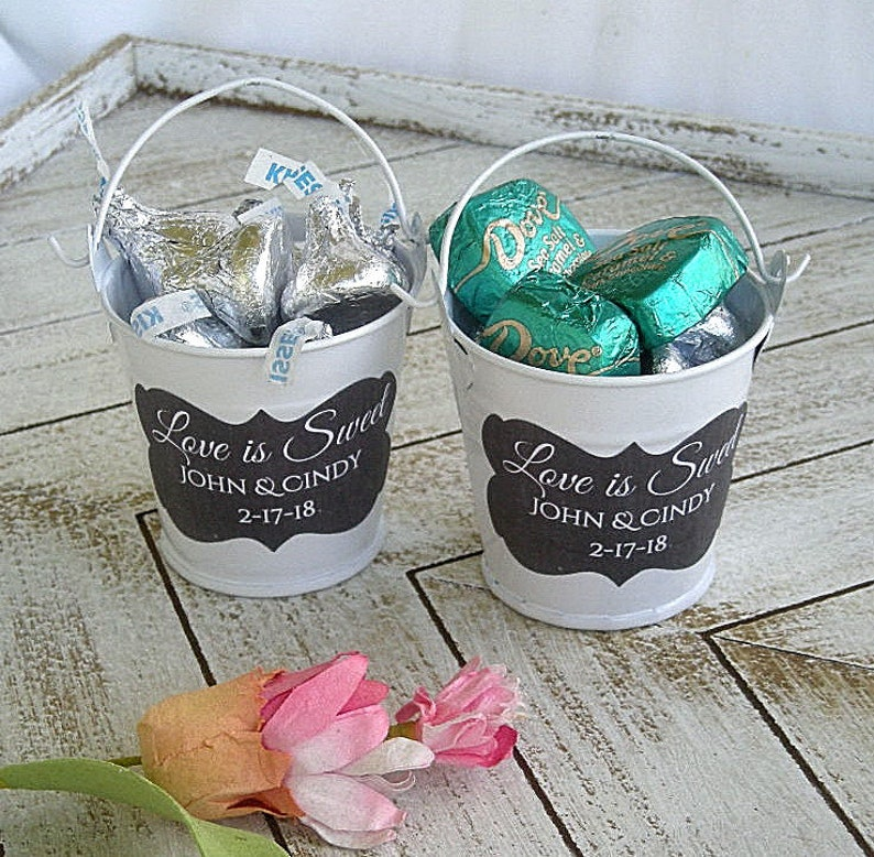Wedding Favor White Mini Bucket Mini Metal Pail W Love Is Etsy