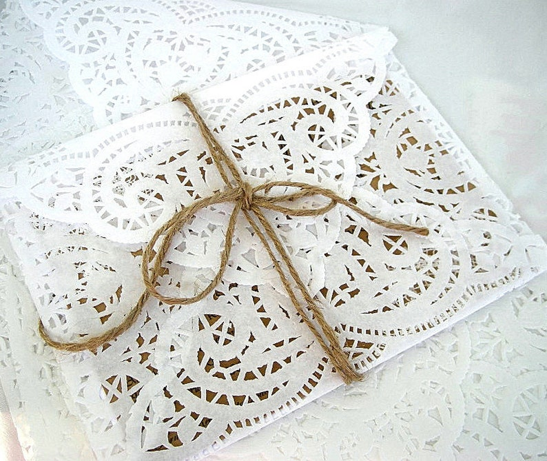 Doily Paper Lace Envelopes Vintage Wedding Handmade A2 White Invitation Liner Tea Shabby Chic 60 Piece Set Rose