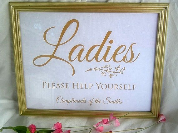 Wedding Signs Bathroom Gold Frame Wedding Reception Sign Etsy