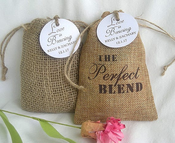 Thank You Favor Bags Custom Favor Burlap Bags Coffee Favors The Perfect Blend Personalized Favor Bags w Custom Tags Rustic Favor Bags