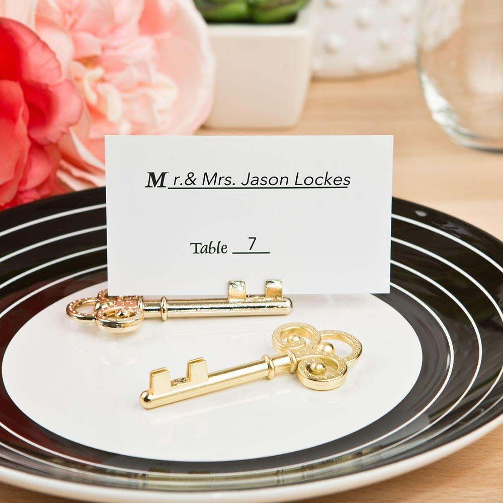 Gold Key Place Card Holder Wedding Antique Bronze Vintage Key