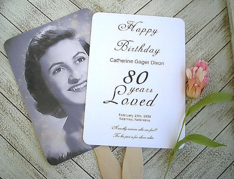 Birthday Photo Fans 80th 50th Birthday Fans Custom Photo Birthday Fans Assembled Printed Photo Fans Anniversary Wedding Custom Personalized