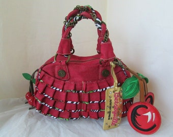 Betsey Johnson Sequined Lightning Medium Tote Red