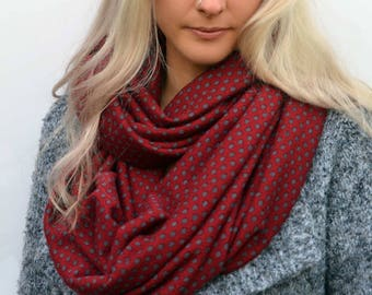 Red polkadot scarf, red infinity scarf, chunky scarves, blanket scarf, cowl scarf, womens scarves, christmas scarf, girlfriend gifts