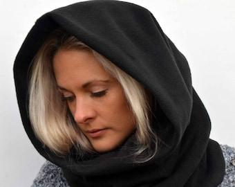Black fleece cowl scarf, chunky scarves, hooded scarf, cowl scarf, snood scarf, fleece scarf, infinity scarf,girlfriend gift, elven scarf
