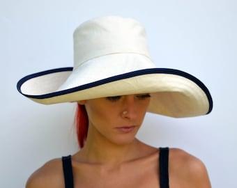 Cream sun hat, foldable hat, travel hat, wide brimmed summer hat, cream calico sunhat, cotton hat, summer fashion, beach wear