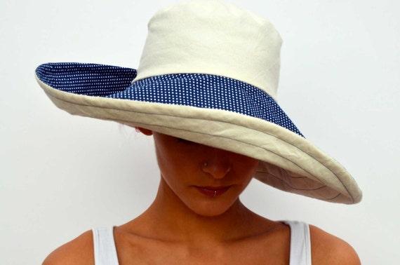Wide brimmed summer hat sun hat reversible hat foldable  6e0ba1ef7350