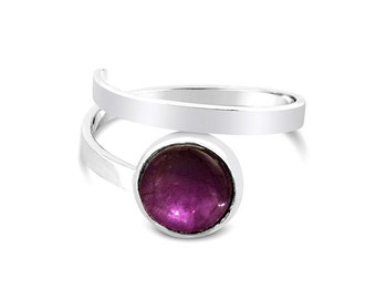 Amethyst Ring, Sterling Silver Adjustable Ring, Purple Amethyst Adjustable Ring, February Birthstone, Gemstone Ring, Birthday Gift for Her