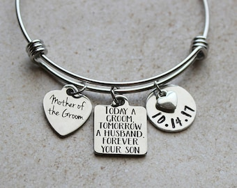 Mother in Law Gift Today a GROOM Bracelet for Mom forever your son FFPB tomorrow a husband Mother of the Groom Gift Wedding Gift