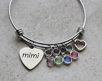 Mimi Bracelet with Birthstones - Mimi Gifts, Gifts for Mimi, Mimi Birthstone Bracelet, Bracelet for Mimi, Jewelry for Mimi, Mimi Gift Ideas,