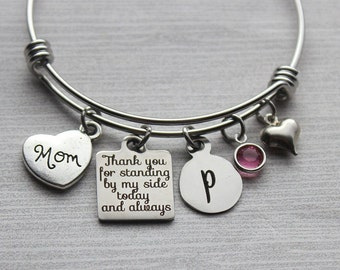 Mom - Thank-You For Standing By My Side Today and Always Bracelet, Wedding Gifts For Mom, Mom Wedding Gifts, Wedding Keepsakes, Wedding Gift
