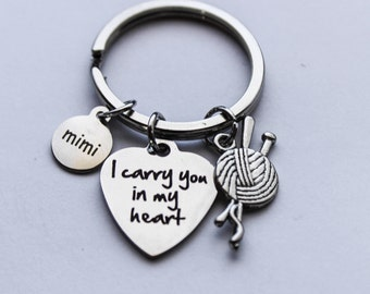 Mimi - I Carry you in my Heart Yarn Memorial Keychain, Mimi Memorial Jewelry, Mimi Sympathy Jewelry, Mimi Remembrance Jewelry, Loss of Mimi