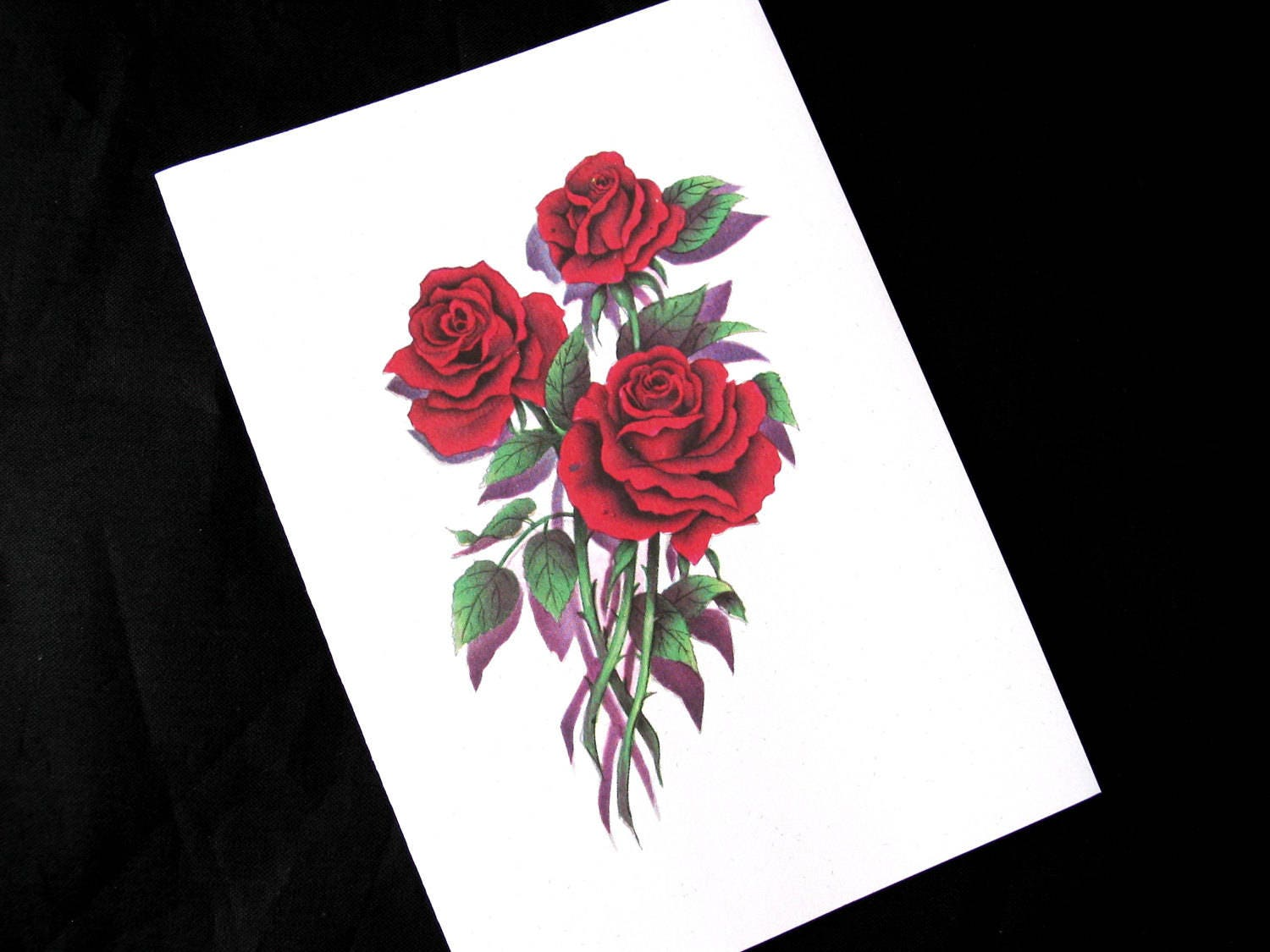 Red Rose Thank You For Your Sympathy Note Cards with Envelopes | Etsy