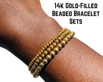 Gold Filled Beaded Bracelet Sets   3mm 4mm 5mm 6mm 14k Gold Filled Bead Bracelet   Gold Bead Bracelet   Gold Ball Bracelet   The AB Bracelet