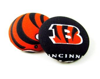 Oversized Cincinnati Bengals Print Button Earrings