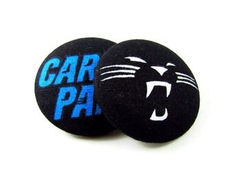 Oversized Carolina Panthers Print Button Earrings