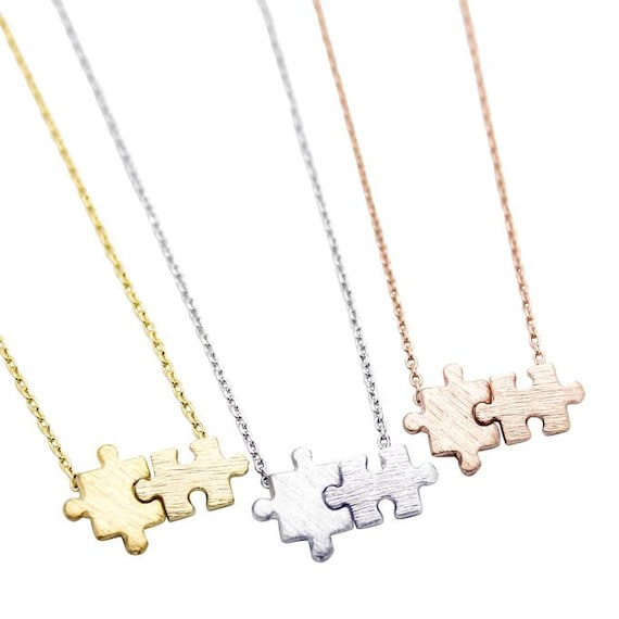 Me Puzzle Necklace Wedding Bridesmaid Gift Tiny Gold or Silver Autism You Simple Birthday Gift Dainty