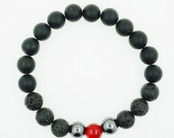 "Men's ""Bulls"" Hematite Onyx Coral Beaded Bracelet"