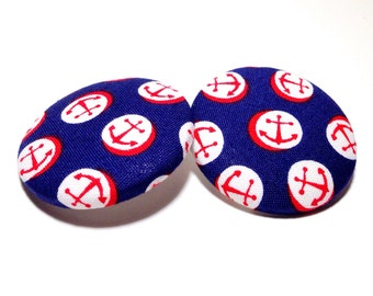 Extra Oversized Anchor Print Button Earrings