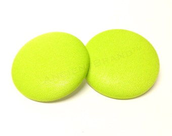 Extra Oversized Lime Green Print Button Earrings