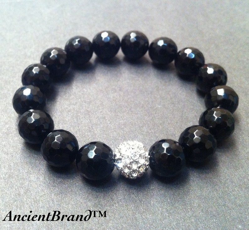 Unisex Bling Onyx Stretch Beaded Bracelet