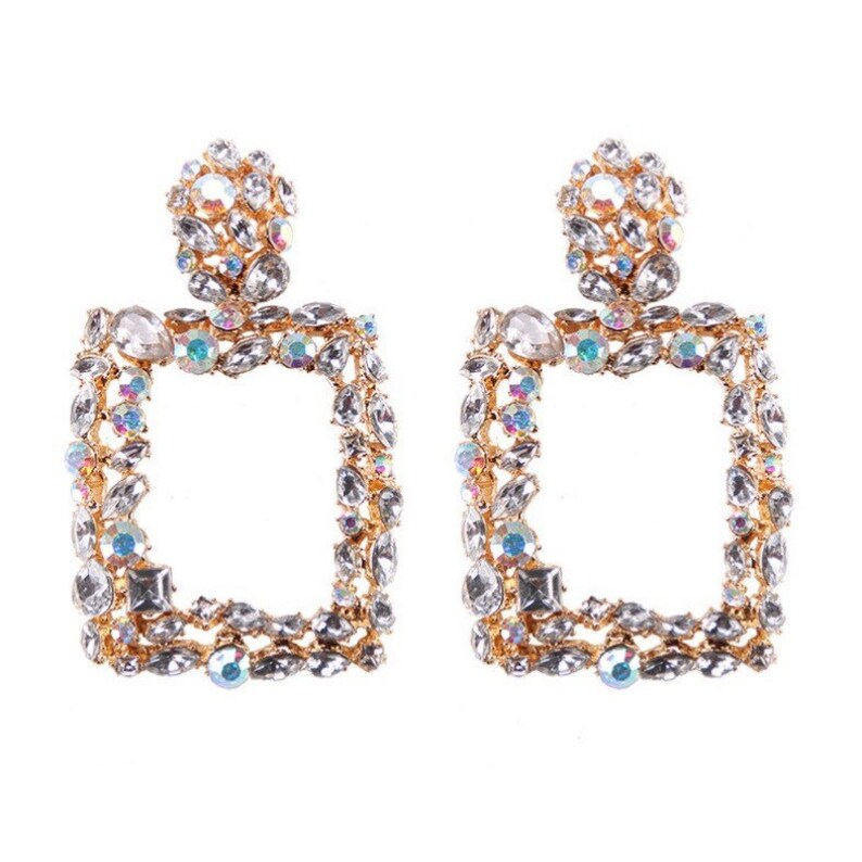 Square Statement Earrings Chandelier Square Earrings Square Jewel Drop Earrings Gold Drop Earrings