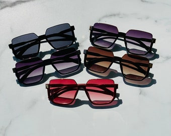 Oversized Block Frame Sunglasses   Square Sunglasses   Retro Sunglasses   Minji
