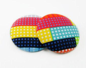 Unorganized Polka Dots Print Button Earrings