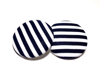 Oversized Black and White Stripe Print Button Earrings