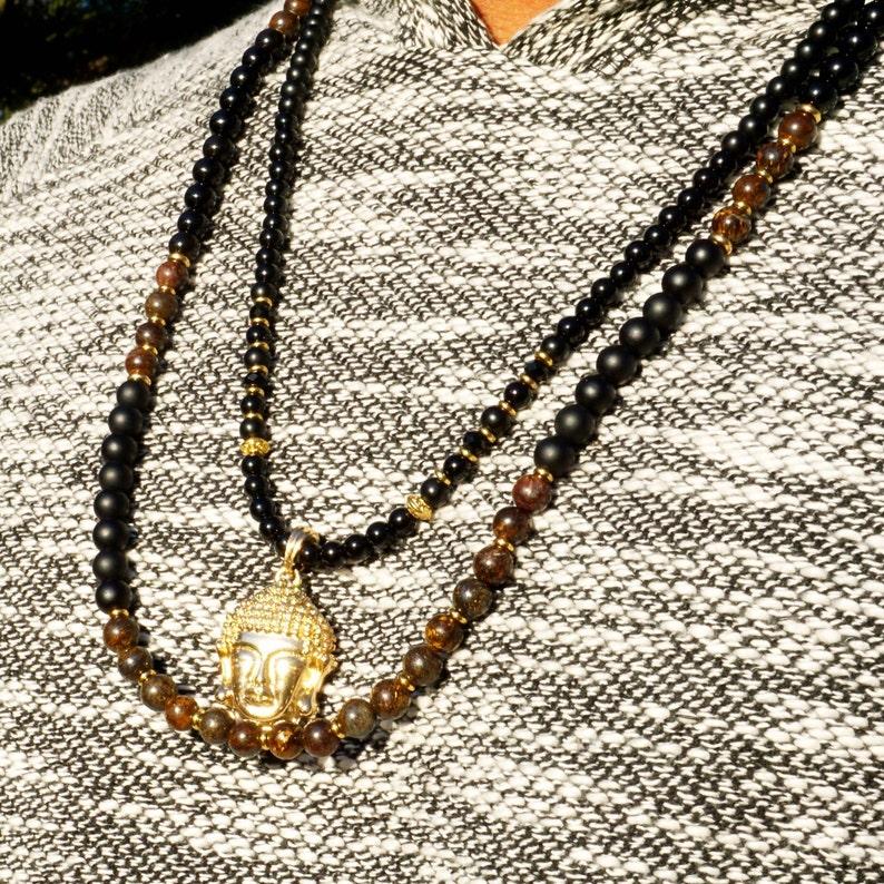 Men/'s 8mm Kanye Bronzite and Black Onyx Beaded Necklace