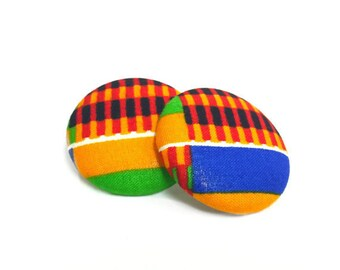 Oversized Kente Cloth Print Button Earrings