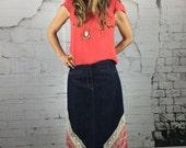 Womens Clothes Denim Skirt Upcycled Clothing Pencil Boho Womens Wear Hippie Fashion Bohemian Eco Friendly