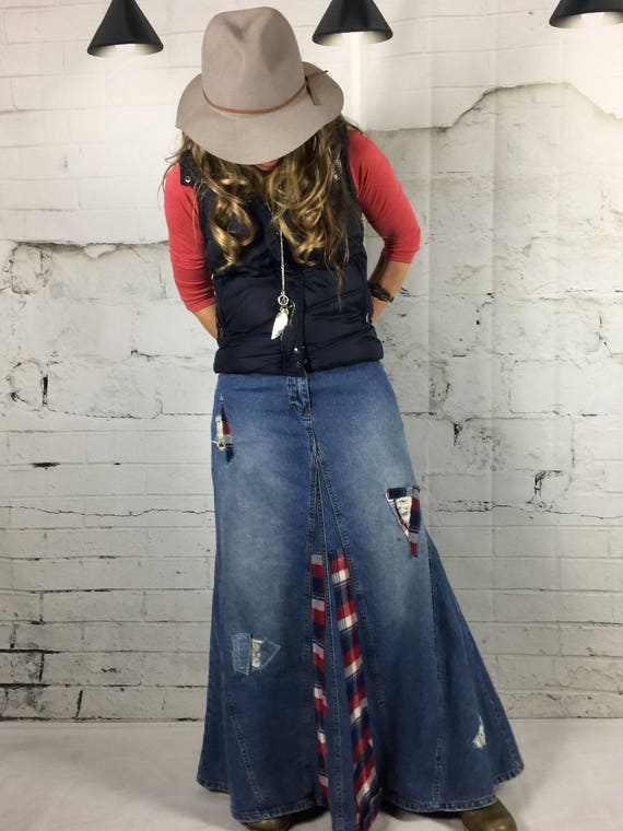 meet no sale tax sports shoes Jupe Maxi Boho vêtements Boho jupe Denim jupe longue Denim jupe vêtements  modestes vêtements Bohème Upcycled vêtements en denim jupes