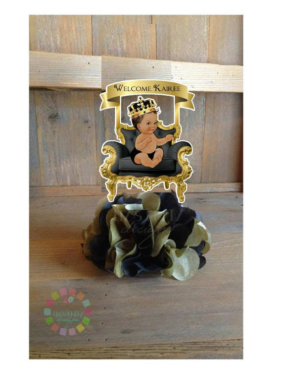 Black and gold royal prince diy centerpiece kit baby