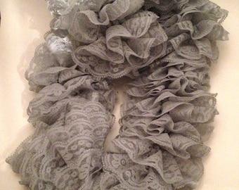 Gray Lace Ruffle Scarf
