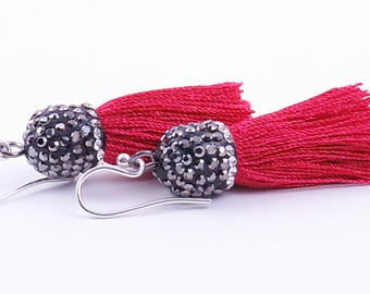 Red Tassel Pave Crystal Earrings Boho Chic Style Earrings Tassel Earrings