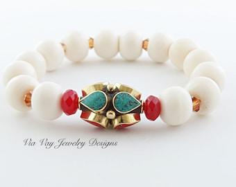 Nepali Bead Bracelet with White Bone and Swarovski Crystal