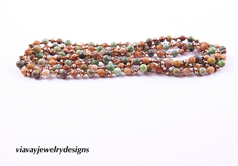 Fancy Jasper  Knotted Necklace Hand Knotted Picasso Jasper Necklace Bohemian Jewelry Boho Necklace Stack Layer Necklace