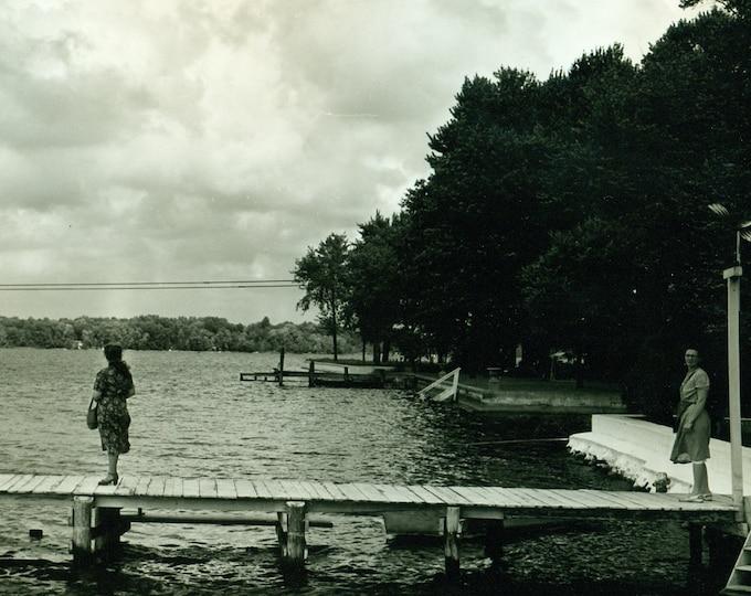 Original Photo Storm BW Vintage Amateur 8x10 Black & White Muskegon Lake Mona Women on Dock Viewing Storm Muskegon MI Michigan