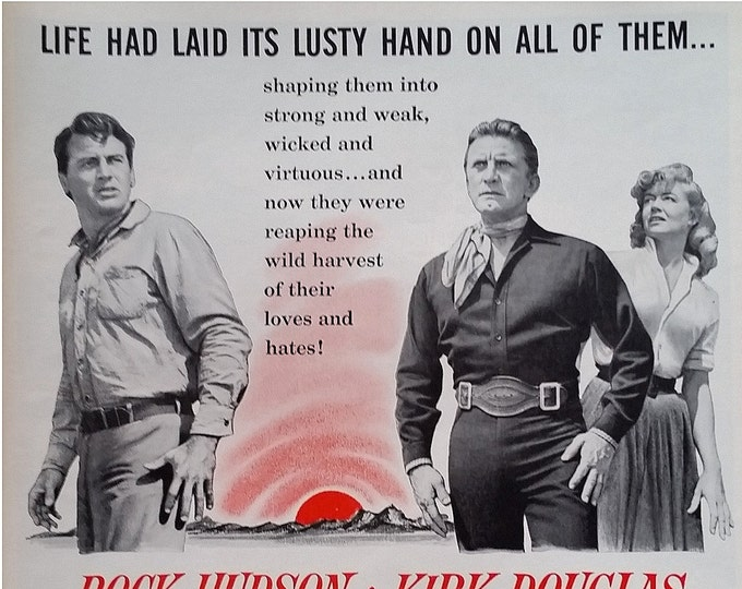 Kirk Douglas 'The Last Sunset' 1961  Movie Poster Rock Hudson Cowboy Drama Rival Lovers Dorothy Malone.  Fun Hollywood Poster.  Ready Frame.