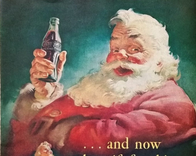 Coke Ad 50a.  Santa Clause Coke in Hand Kids Unwrapping Gifts Dolls Tree Trains Fun Classic Chubby Claus IIllustrated 13x10 Ready Framing.