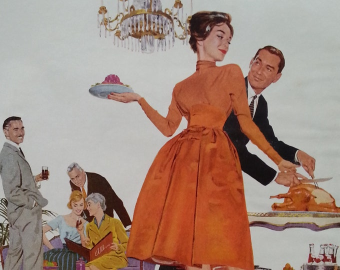 House Party.  Thanksgiving Dress Up Pepsi Cola.  Mid Century Modern group and furniture.  Demure wife.  Pepsi ad 1960.  Ready frame.