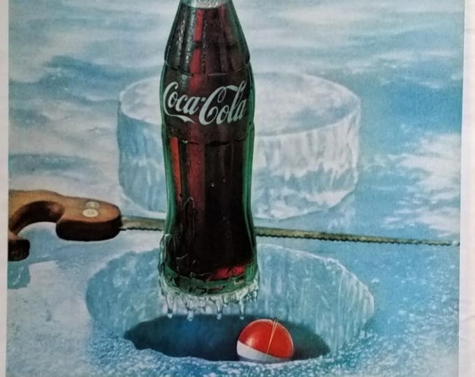 Ice Fishing Coke Classic Coke Coca-Cola Wintertime Sports Vintage Cola Ad 60s Illustration Saw Ice Hole Shanty Wall Ad Art Funny.  13 x 10