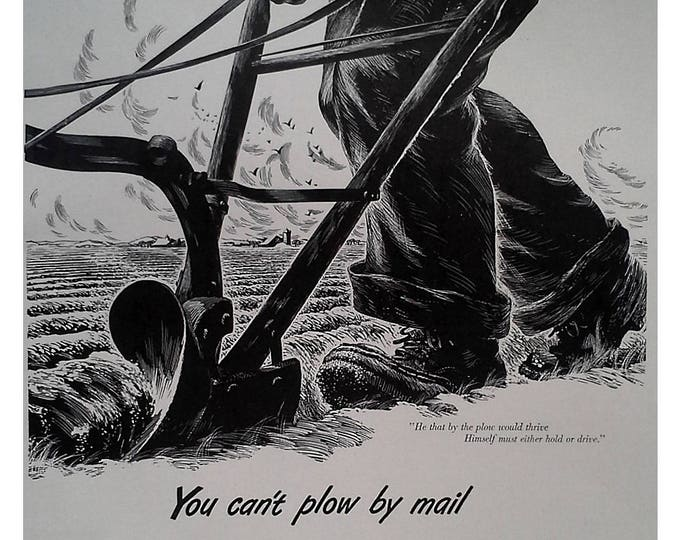 """Farming 40s Etching Drawing Illustrating Working Hard & Growth in """"Plowing"""" ideas into marketplace.  13 x 10.  Ready Frame"""