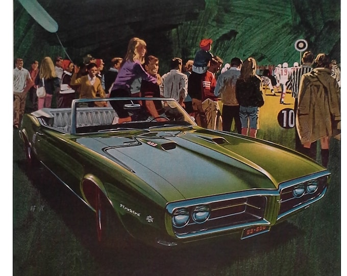 67 Pointiac Firebird GreenHS Football Friday Night Lights.  Americana.  Football in USA Friday Night.  Auto ad 13 x 10.  Ready Frame