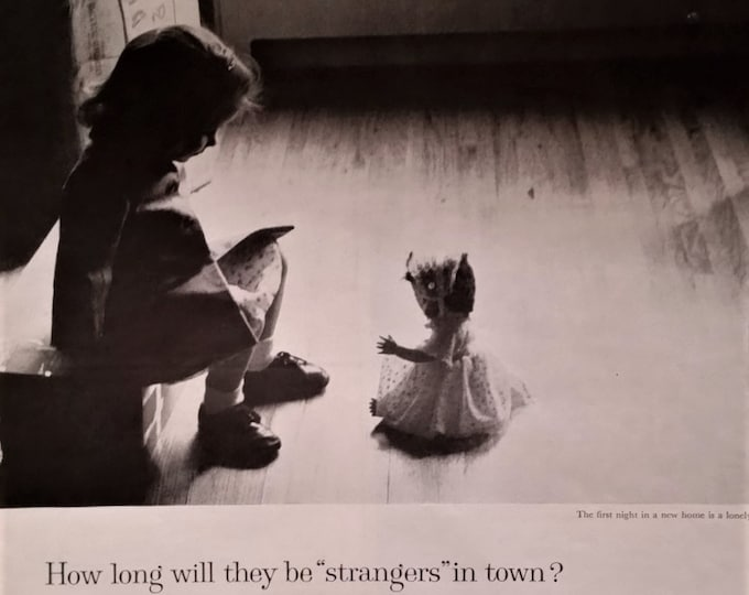 Girl and Her Doll New Home Bank Ad Sad & Cute 'Strangers' in Town Lonely with Doll Comfort Fitting In BW Photo Ready Frame  13 x 10