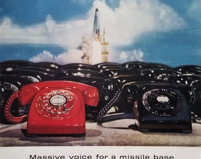 """The Red Line.  Crisis!  Classis Red Rotary Phone Missile Base Contact """"Fire"""" Fun gift for 'boss'  Iconic Direct Line to the Man Ready Frame"""