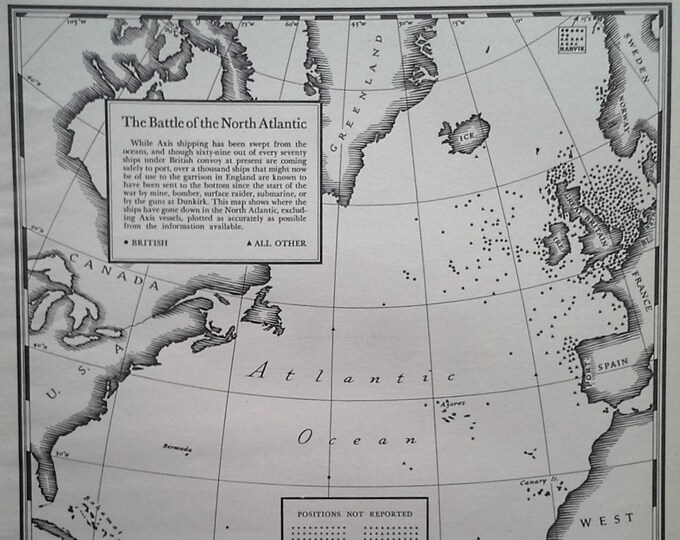 Battle North Atlantic 1941 Map of Ships Dots in Ocean USA Europe Africa Battle Raging WWII Historic Info Map 13x10 Ready for Framing.